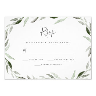 Watercolor Green Leaf Wreath Wedding RSVP Invite
