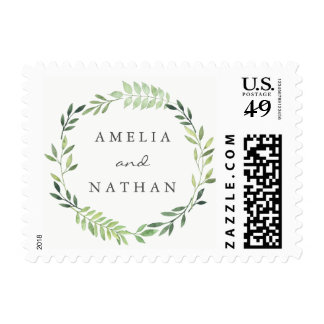 Watercolor Green Leaf Wreath Wedding Stamp