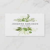 Watercolor Green Leaves Frame Modern Business Card
