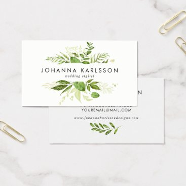 Professional Business Watercolor Green Leaves Frame Modern Business Card