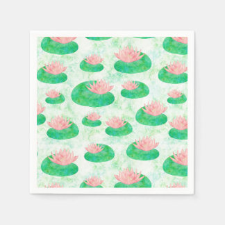 Watercolor Green Lily Pad Pink Lotus Floral Paper Napkin