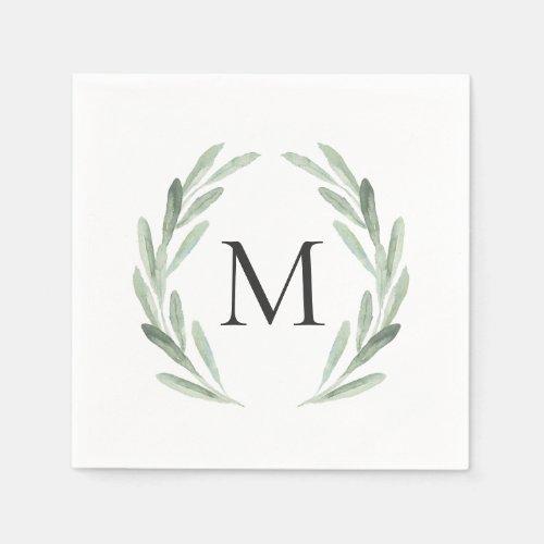 Watercolor Green Olive Branch Wreath Monogram Paper Napkins