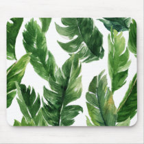Watercolor Green Tropical Leaves Pattern Mouse Pad