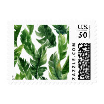 Watercolor Green Tropical Leaves Pattern Postage