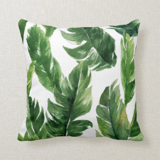 Watercolor Green Tropical Leaves Pattern Throw Pillow