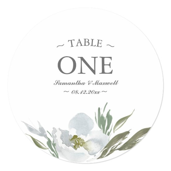 Watercolor Green White and Gray Table Number