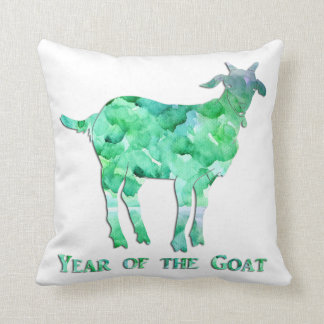 Watercolor Green Year of the Goat Pillow