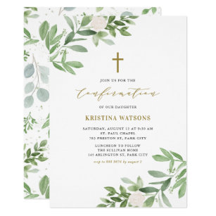 Watercolor Greenery And Flowers Confirmation Invitation