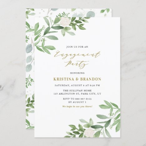 Watercolor Greenery and Flowers Engagement Party Invitation