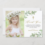 Watercolor Greenery and Flowers First Communion Thank You Card
