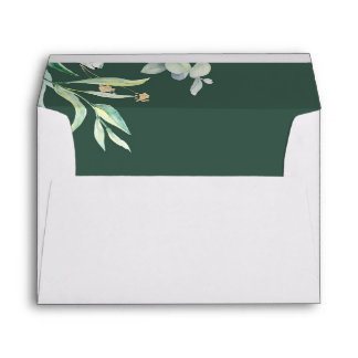 Watercolor Greenery and Gold Wedding Envelope