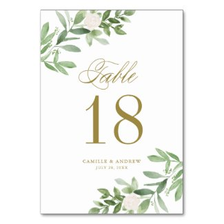 Watercolor Greenery and White Flowers Gold Table Number