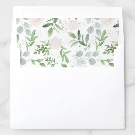 Watercolor Greenery and White Flowers Pattern Envelope Liner