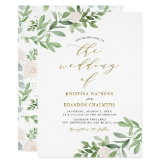 Watercolor Greenery and White Flowers Wedding Invitation