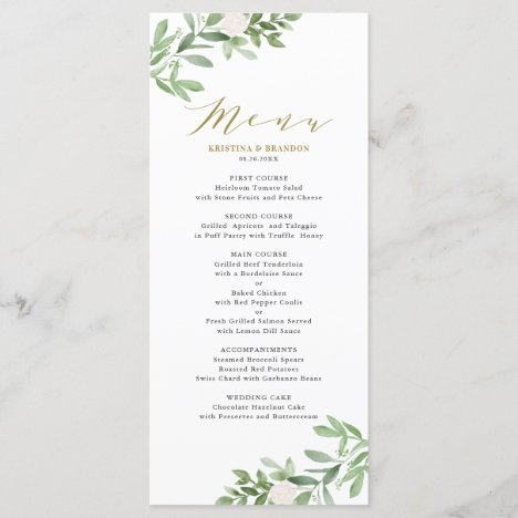 Watercolor Greenery and White Flowers Wedding Menu