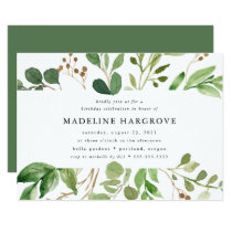 Watercolor Greenery | Birthday Party Invitation