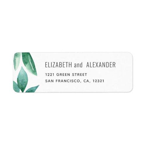 Watercolor greenery Botanical wedding address Label