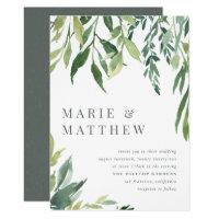 Watercolor Greenery Botanical Wedding Invitation