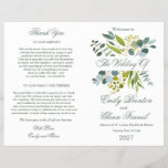 Watercolor greenery foliage Folded Wedding Program