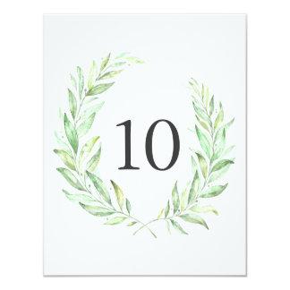 Watercolor Greenery Laurel Wreath Table Number