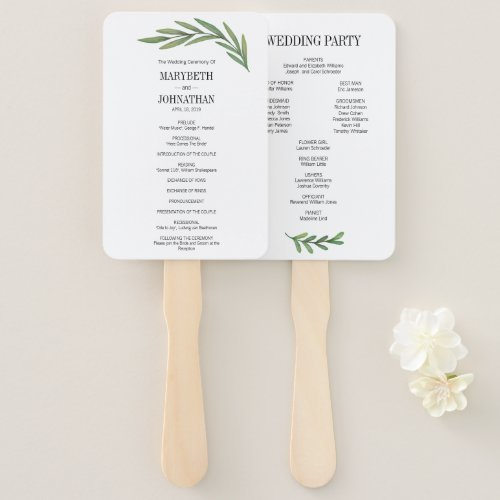 Watercolor Greenery Leaves Wedding Program Fans
