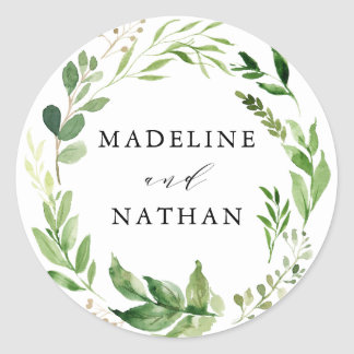 Watercolor Greenery | Personalized Wedding Classic Round Sticker