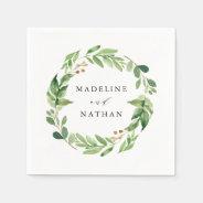 Watercolor Greenery | Personalized Wedding Napkin at Zazzle