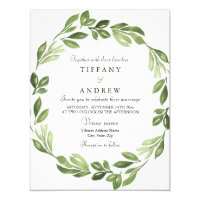Watercolor Greenery Spring Wedding Invite