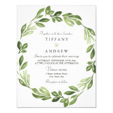 Watercolor Greenery Spring Wedding Invite at Zazzle