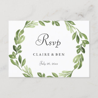 Watercolor Greenery Spring Wedding Invite RSVP