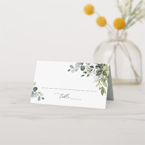 Watercolor Greenery Wedding Folded Place Card