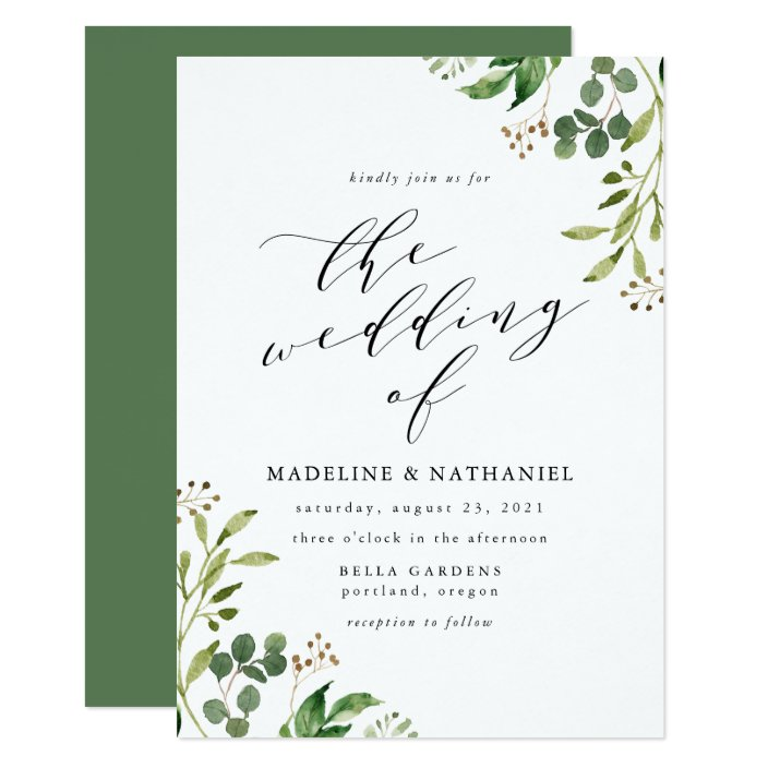 Watercolor Greenery Wedding Invitation Zazzle Com