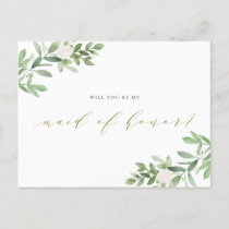 Watercolor Greenery Will You Be My Maid of Honor Announcement Postcard