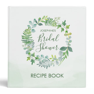 Watercolor Greenery Wreath Bridal Shower Recipe 3 Ring Binder