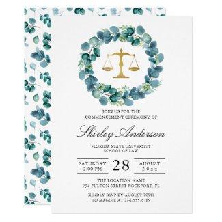 Watercolor Greenery Wreath Law School Graduation Invitation