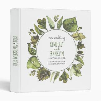 Watercolor Greenery Wreath Leaves Laurel Wedding 3 Ring Binder
