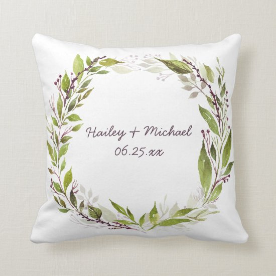 Watercolor Greenery Wreath Purple Berries Vines Throw Pillow