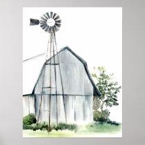 Watercolor Grey Barn Poster