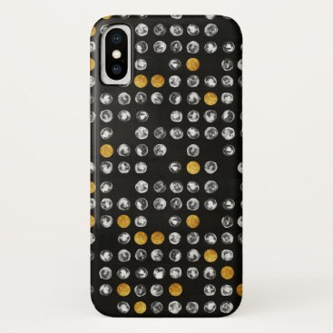 Watercolor Grey Gold Geometrical Full Moon Pattern iPhone XS Case