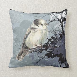 Watercolor Grey Gray Jay Bird Nature Art Throw Pillow