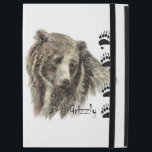 """Watercolor Grizzly Bear Animal Art with footprints iPad Pro 12.9&quot; Case<br><div class=""""desc"""">temWatercolor Grizzly Bear Animal Art with footprints or tracksplate</div>"""