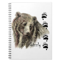 Watercolor Grizzly Bear Wildlife Nature Art Notebook