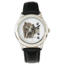 Watercolor Grizzly Bear Wildlife Nature Art Wristwatch