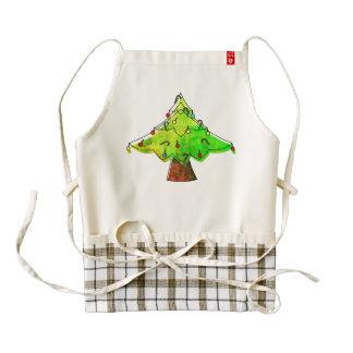 Watercolor Groovy Christmas Tree Zazzle HEART Apron