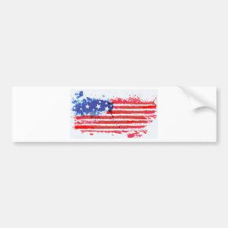 watercolor grunge American Flag Bumper Sticker