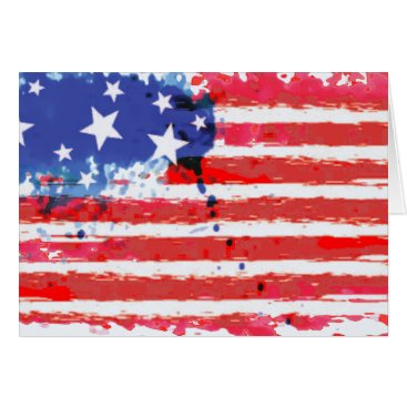 watercolor grunge American Flag Card