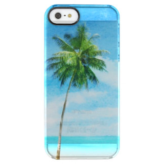 Watercolor grunge image of beach clear iPhone SE/5/5s case