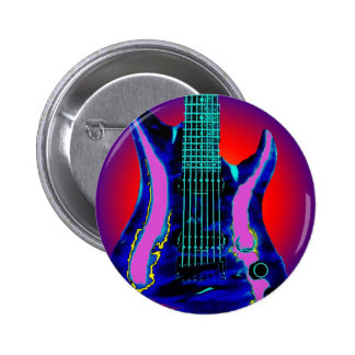 Watercolor Guitar 2 Inch Round Button