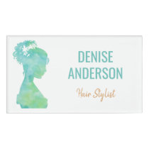 Watercolor Hair Stylist Beauty Salon Personalized Name Tag