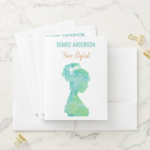 Watercolor Hair Stylist Beauty Salon Personalized Pocket Folder